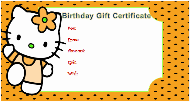 Birthday Certificate for Kids Elegant Kitty Style Gift Certificate for Kids