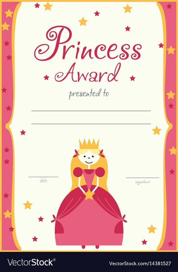 certificate template princess girls birthday vector