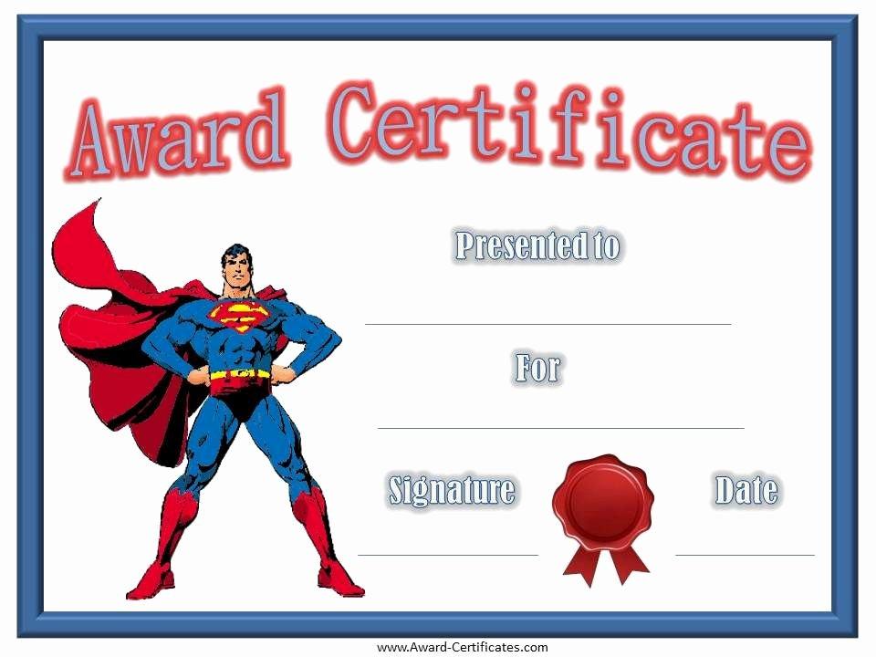 Birthday Certificate for Kids Lovely Free Printable Superhero Templates