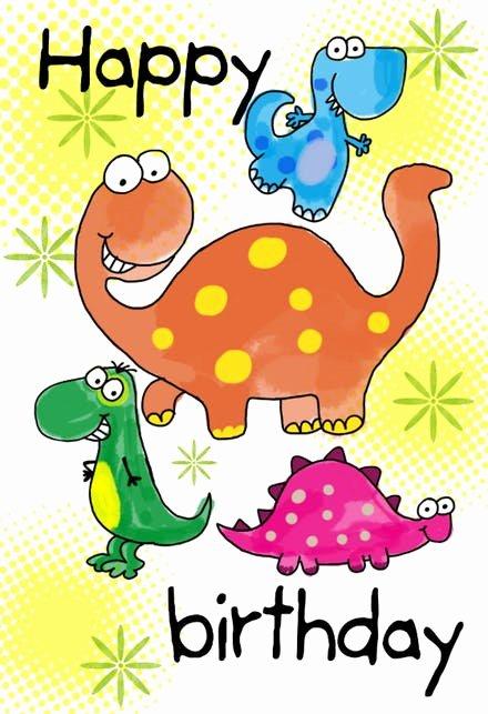 Birthday Certificate for Kids Luxury Four Cute Dinosaurs Birthday Card