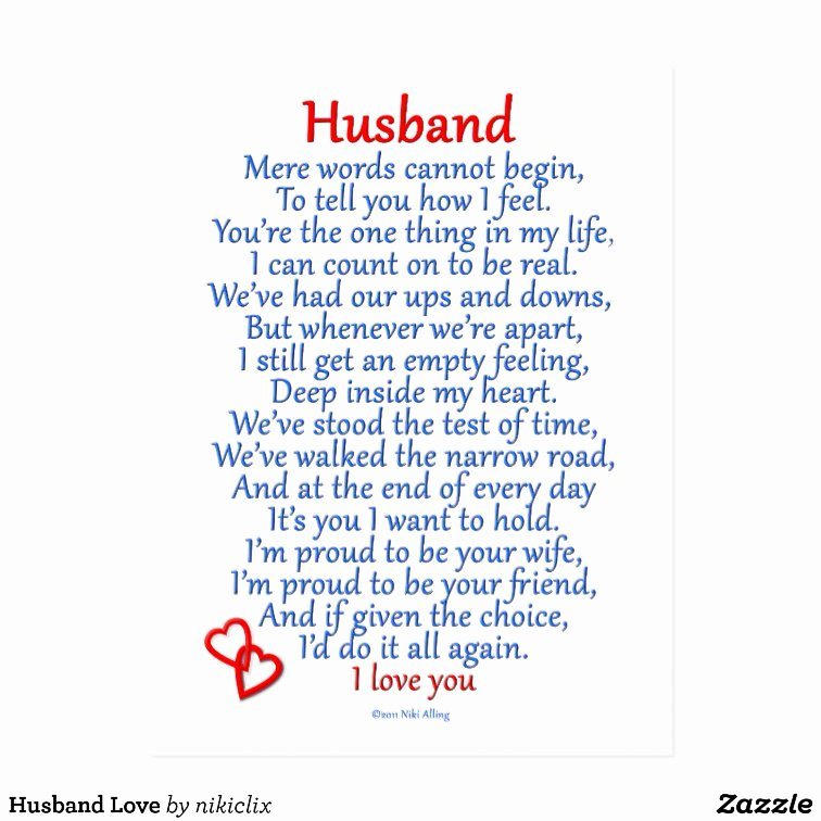 Birthday Letter to My Husband Elegant Husband Love Postcard