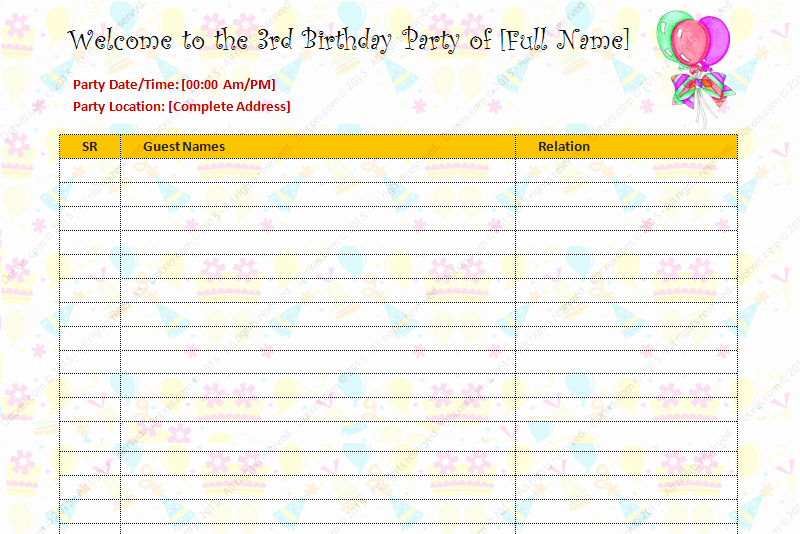 Birthday Party Guest List Template Beautiful Birthday Party Guest List Template Dotxes