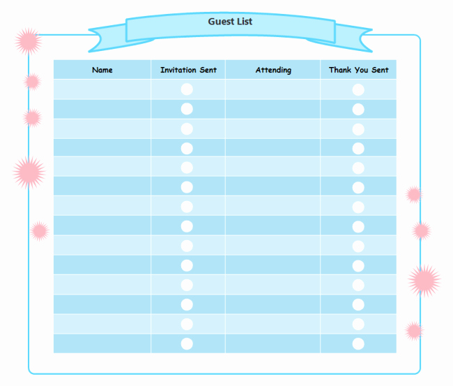 Birthday Party Guest List Template Elegant Printable Birthday Party Checklist Templates