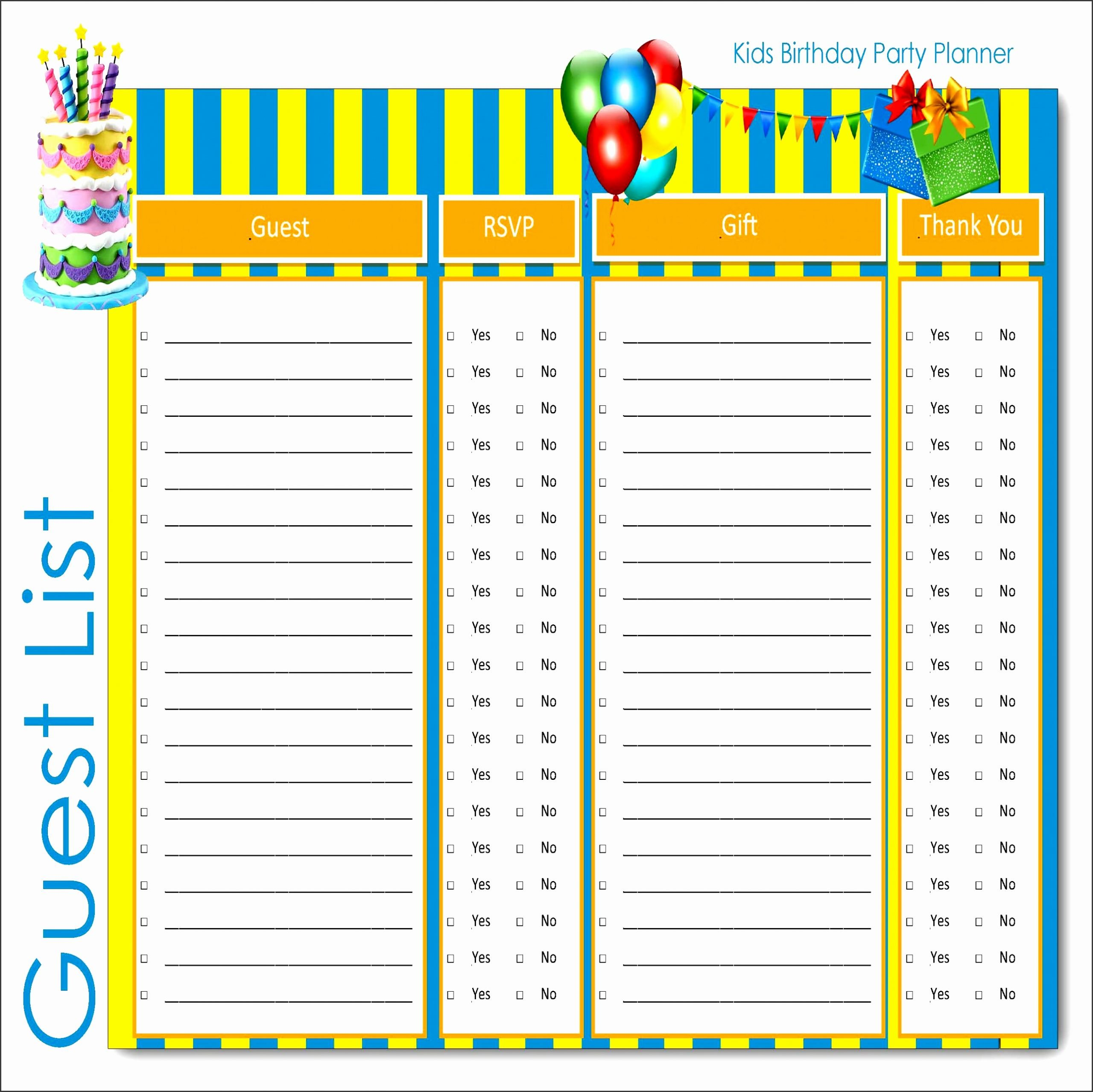 Birthday Party Guest List Template Fresh 4 How to Make Party Guest List In Ms Word