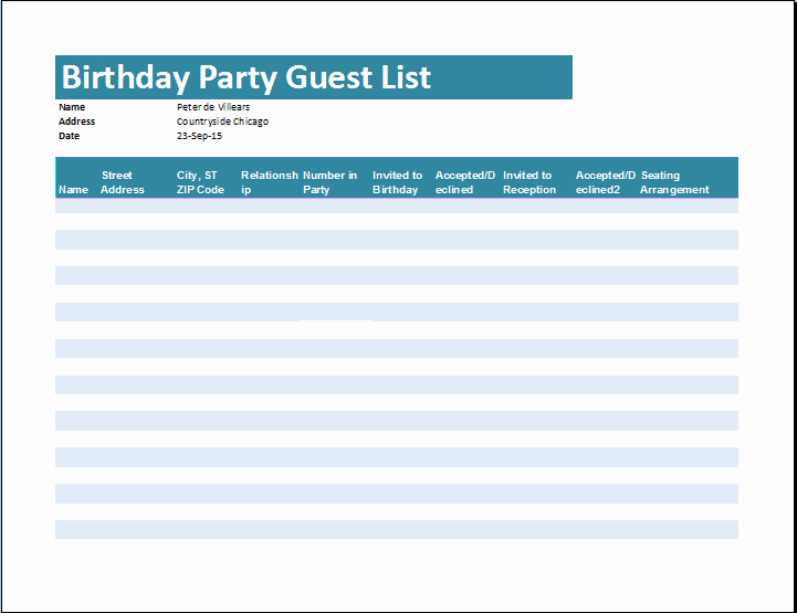 Birthday Party Guest List Template New Birthday Party Guest List Template