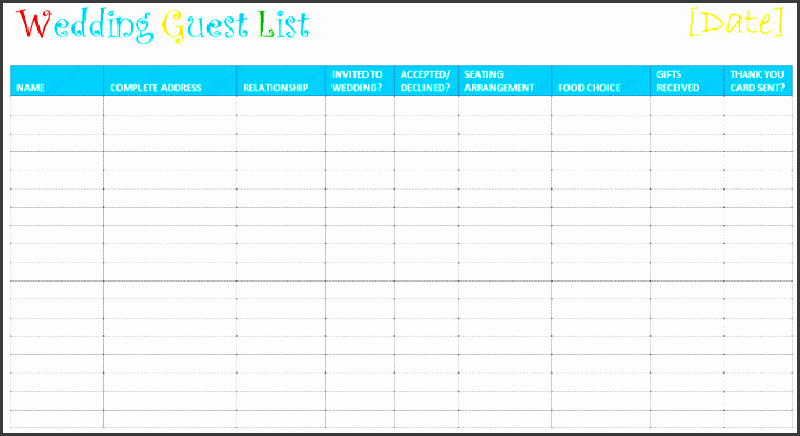 Birthday Party Guest List Template Unique 4 Birthday Party Guest List Template Sampletemplatess