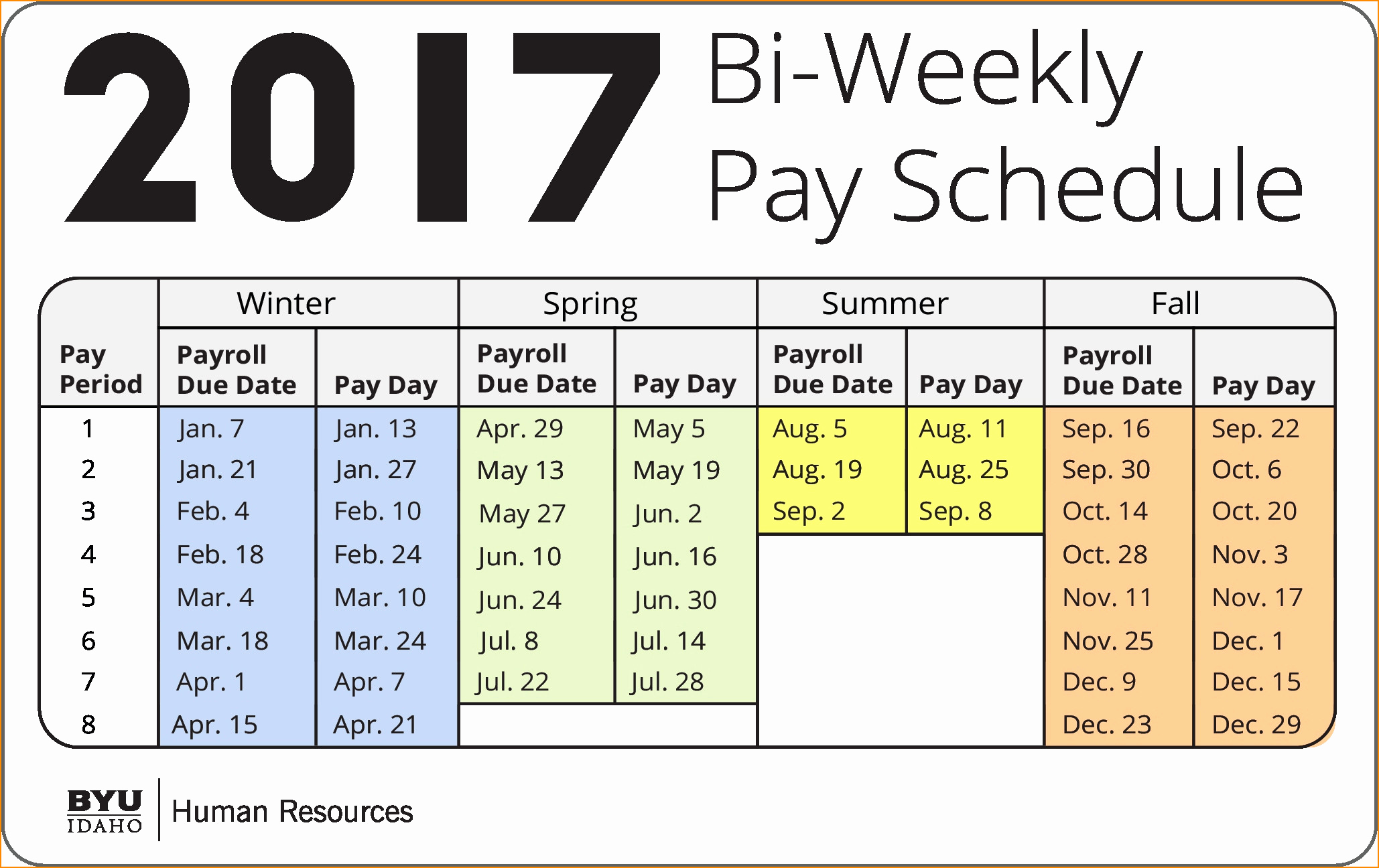 Biweekly Payroll Calendar Template 2017 New Payroll Calendar Excel 2018