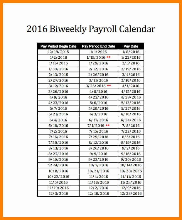 Biweekly Payroll Calendar Template 2017 Unique 6 Biweekly Payroll Calendar 2018 Template