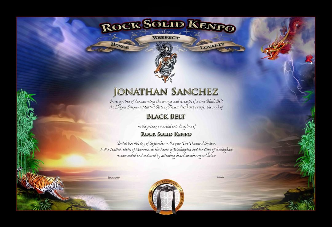 Black Belt Certificate Template Best Of Rock sold Kenpo Black Belt Certificate Martial Arts