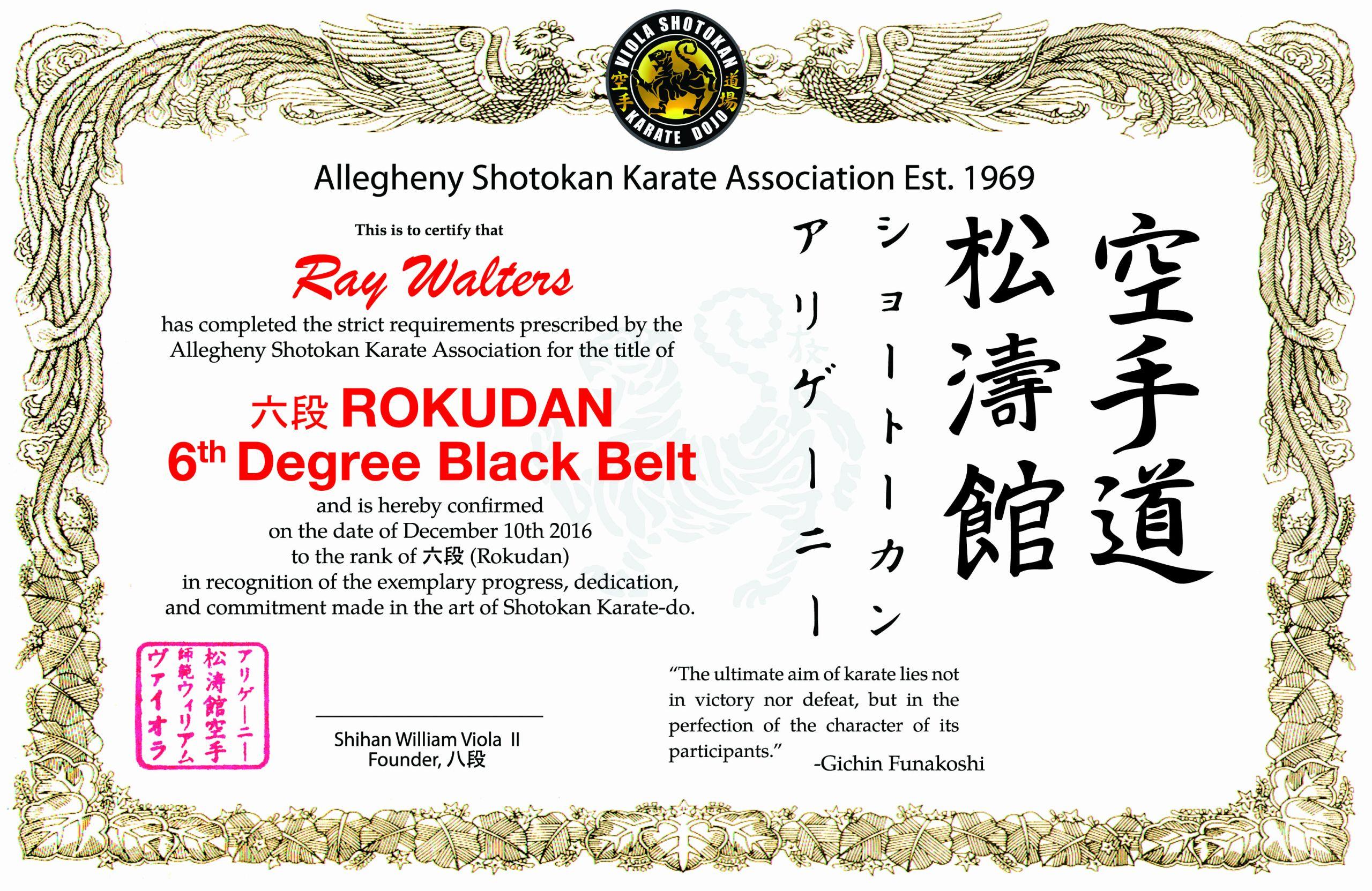 Black Belt Certificate Template Inspirational Sensei Ray Walters Viola Karate Dojo