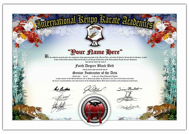 Black Belt Certificate Template New International Kenpo Karate Academies Ed Parker Jr Belt