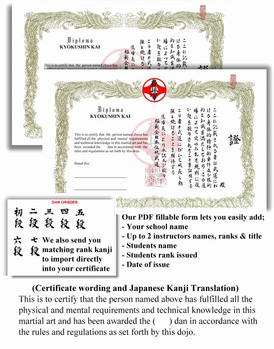 Black Belt Certificate Template Unique Generic Kyokushin Dan Certificate