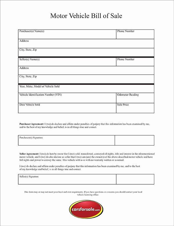 Blank Bill Of Sale Utah Inspirational Free Printable Motor Vehicle Bill Sale