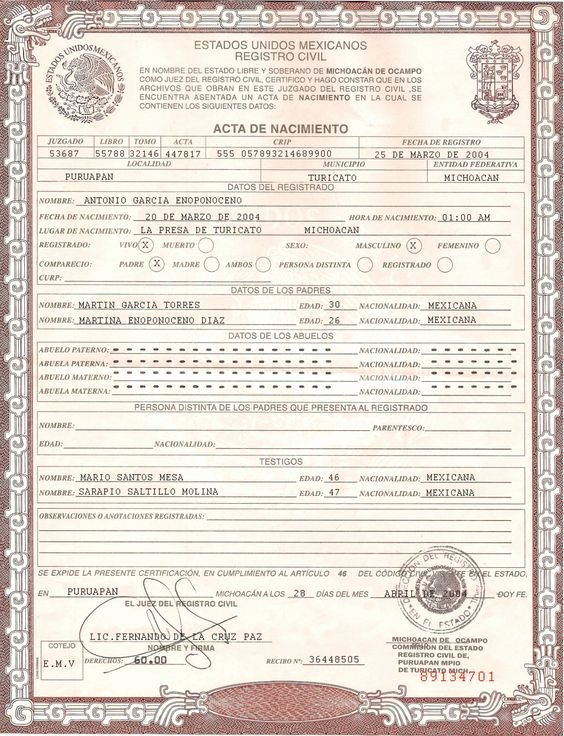 Blank Birth Certificate form Awesome This is Mexican Birth Certificate Psd Shop Template