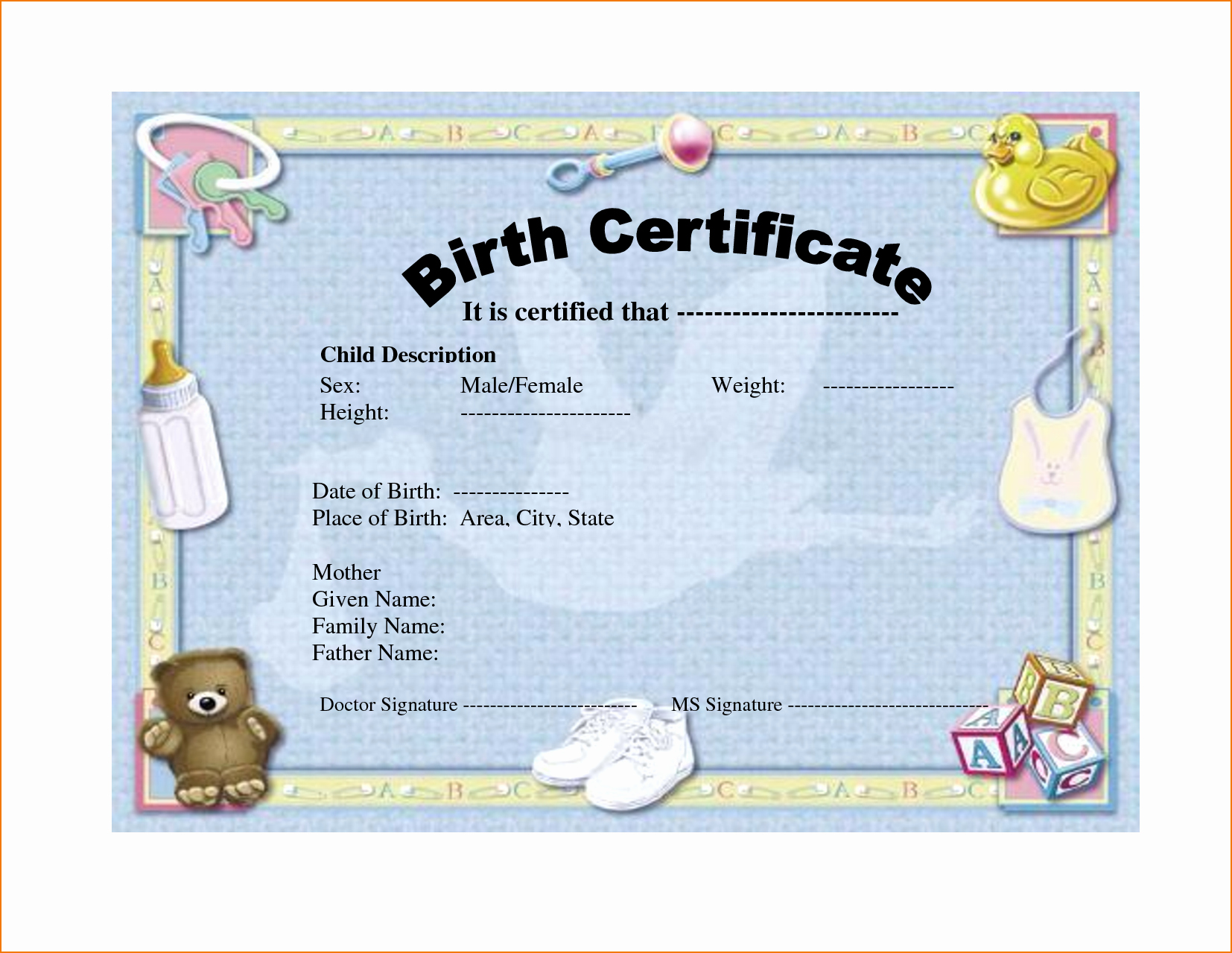 Blank Birth Certificate Images Fresh 6 Birth Certificate Templates