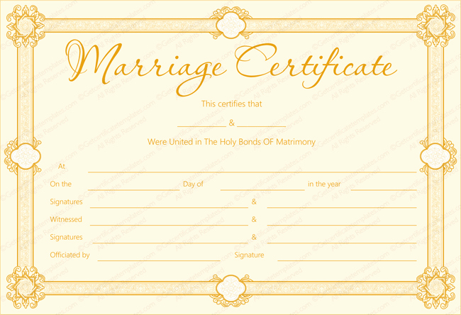 Blank Birth Certificate Pdf Luxury Marriage Certificate Template 22 Editable for Word