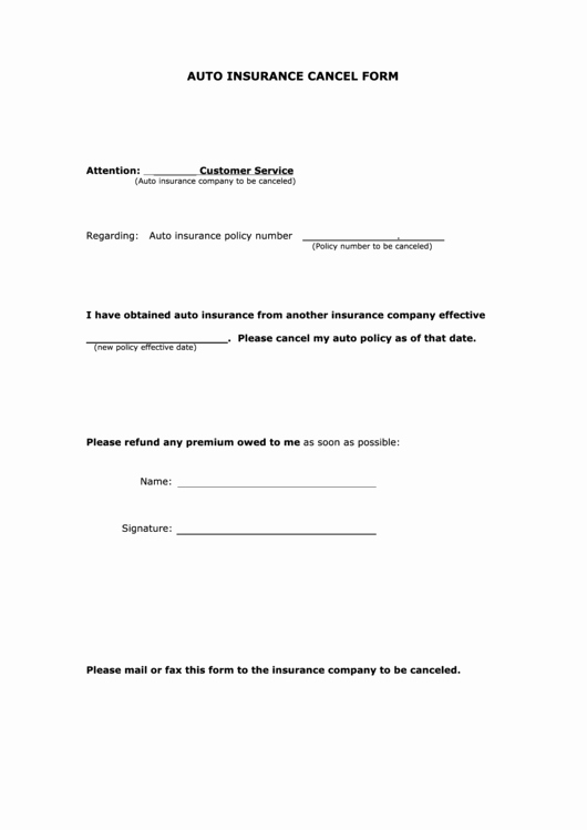 Blank Car Insurance Card Template Lovely Fillable Auto Insurance Cancel form Printable Pdf