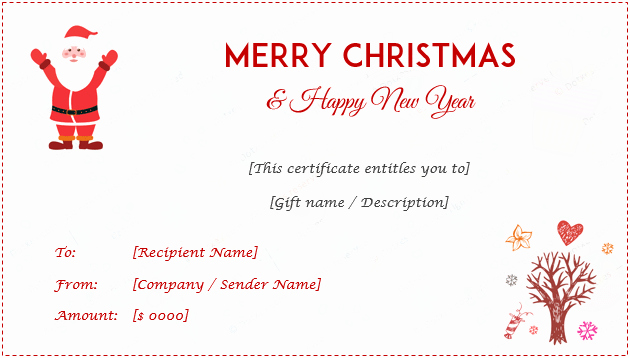Blank Christmas Gift Certificate Template Beautiful 24 Christmas & New Year Gift Certificate Templates