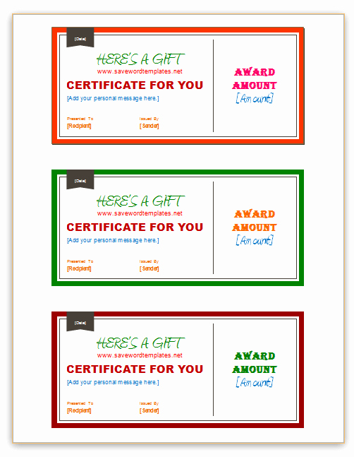 Blank Christmas Gift Certificate Template Elegant 3 Per Pages Gift Certificate Templates