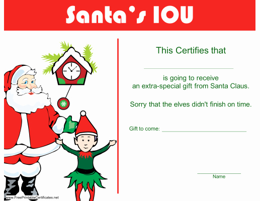Blank Christmas Gift Certificate Template Lovely 11 Best S Of Christmas Certificates to Print Blank