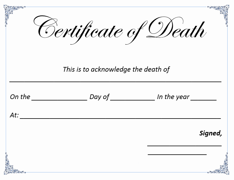 Blank Death Certificate Template Best Of Death Certificate Template Microsoft Word Templates