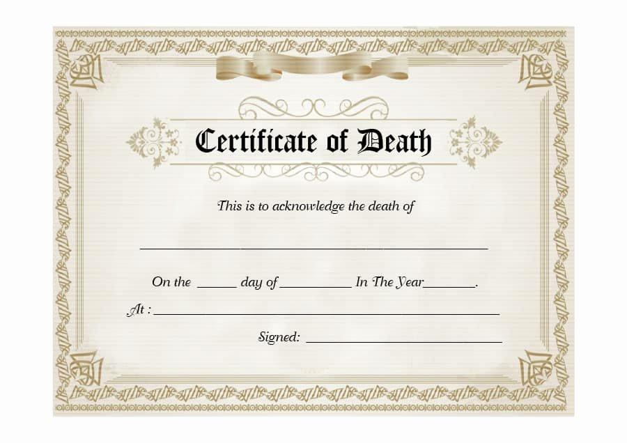 Blank Death Certificate Template Elegant 37 Blank Death Certificate Templates [ Free]