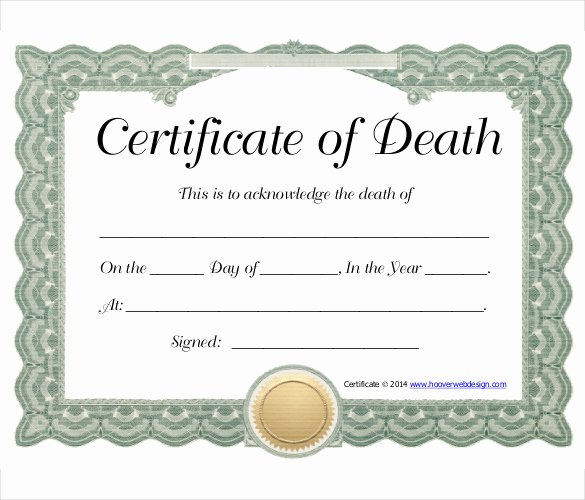 Blank Death Certificate Template Lovely 11 Sample Death Certificate Templates Pdf Doc