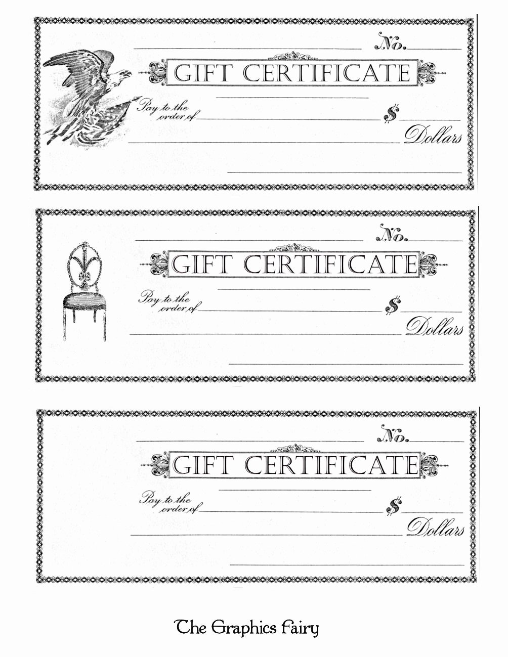 Blank Gift Certificate Paper Lovely Free Printable Gift Certificates the Graphics Fairy