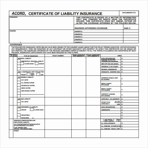 Blank Insurance Card Template New Blank Acord Certificate Insurance