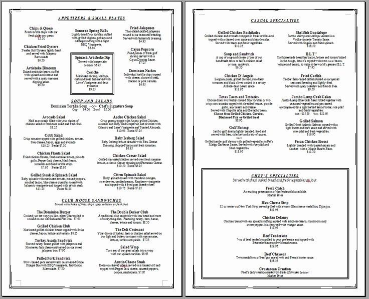 Blank Menu Template Free Luxury Free Printable Template Restaurant Menus