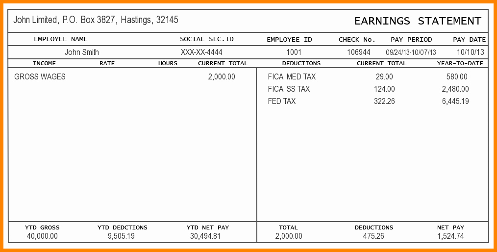 Blank Pay Check New 5 Pay Stub Template Word
