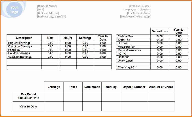 Blank Pay Check New 6 Free Payroll Check Stub Template