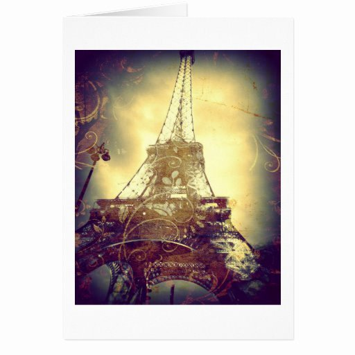 Blank Purple Heart Certificate Inspirational Eiffel tower Brown Purple and Gold Blank Card
