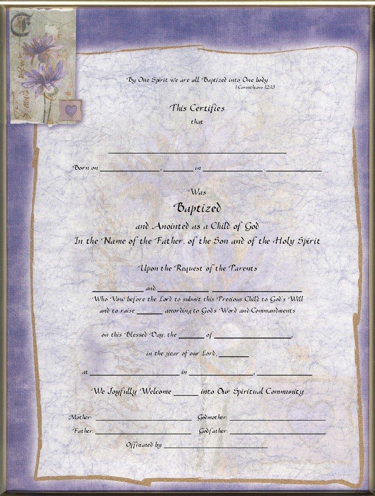 Blank Purple Heart Certificate Lovely Keepsake Child Baptism 8 5 X 11 Inch Certificate