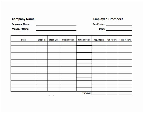 Blank Timesheet form Elegant Employee Timesheet Sample 11 Documents In Word Excel Pdf