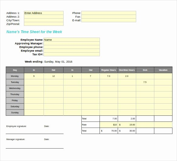 Blank Timesheet form Fresh 27 Blank Timesheet Templates – Free Sample Example