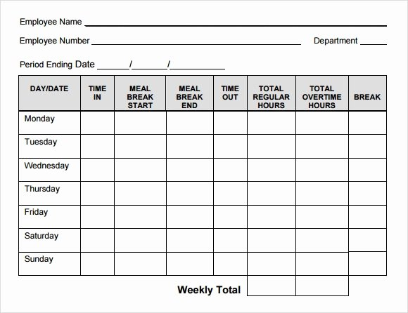 Blank Timesheet form Inspirational Blank Timesheet Template 8 Free Download for Pdf