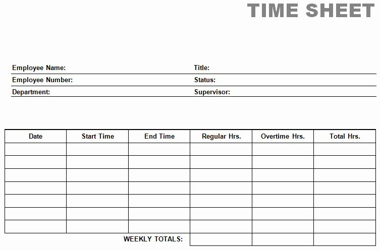 Blank Timesheet form Lovely Printable Blank Pdf Time Card Time Sheets