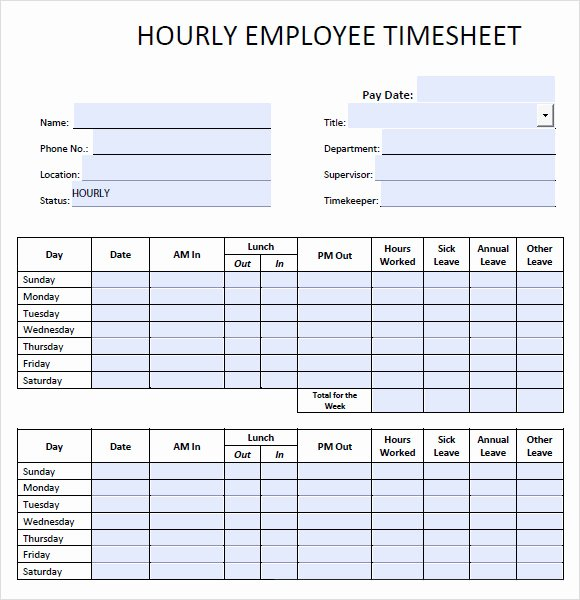 Blank Timesheet form Luxury Free 10 Blank Timesheet Templates In Free Sample Example