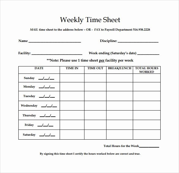 Blank Timesheet form Luxury Free 18 Sample Weekly Timesheet Templates In Google Docs