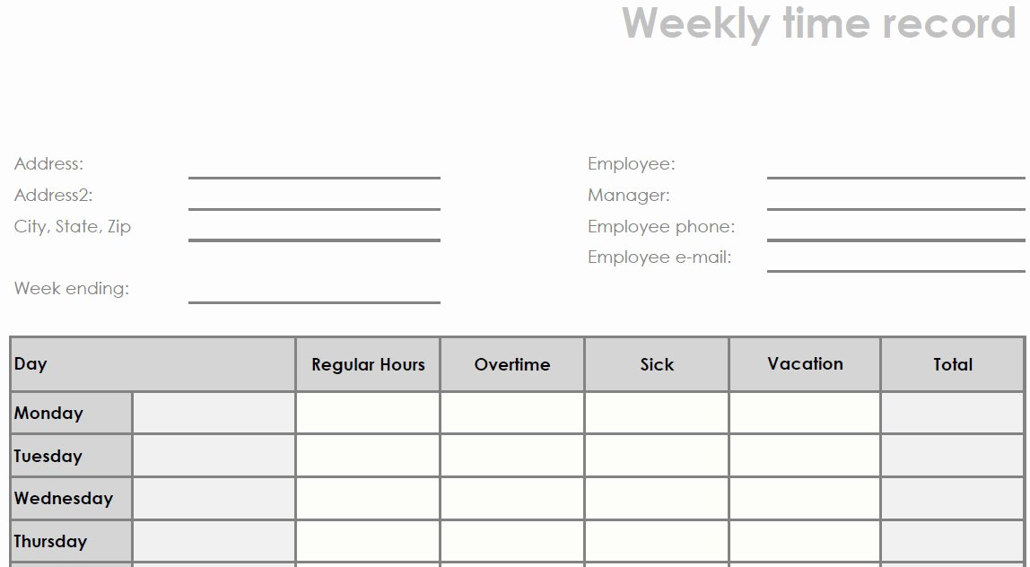 Blank Timesheet form Unique Printable Blank Weekly Pdf Time Sheet form