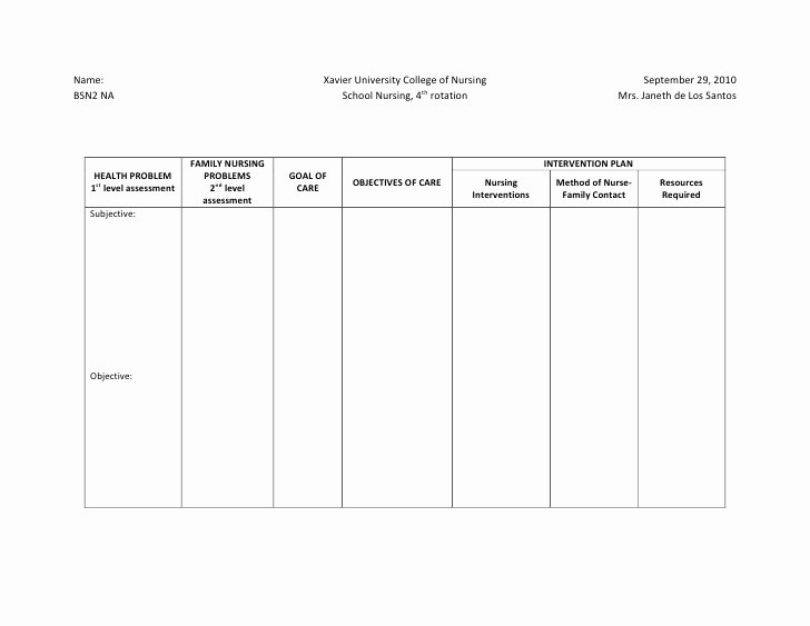 Blank Treatment Plan Template Elegant 27 Of Family Nursing Care Plan Template