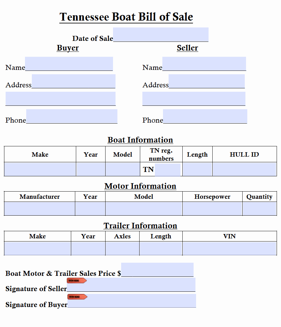 tennessee boat bill of sale form