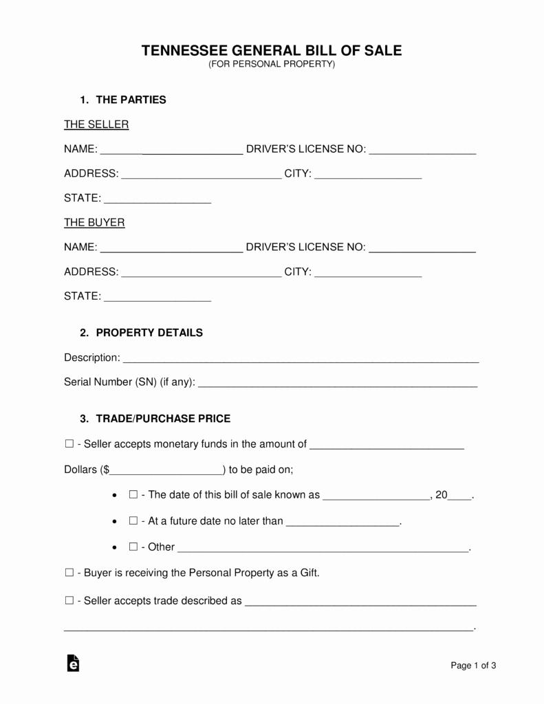 Boat Bill Of Sale Tn Luxury Free Tennessee General Bill Of Sale form Word