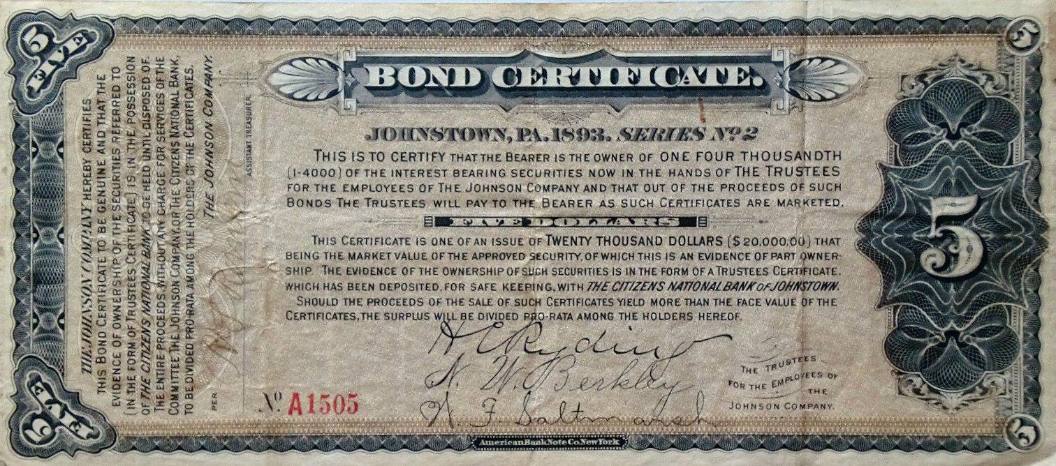 Bond Certificate Template Free Fresh Vintage Johnstown September 2012