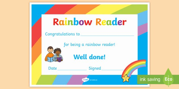 Book Fair Gift Certificate Template Beautiful Editable Rainbow Reader Book Certificates Editable Book