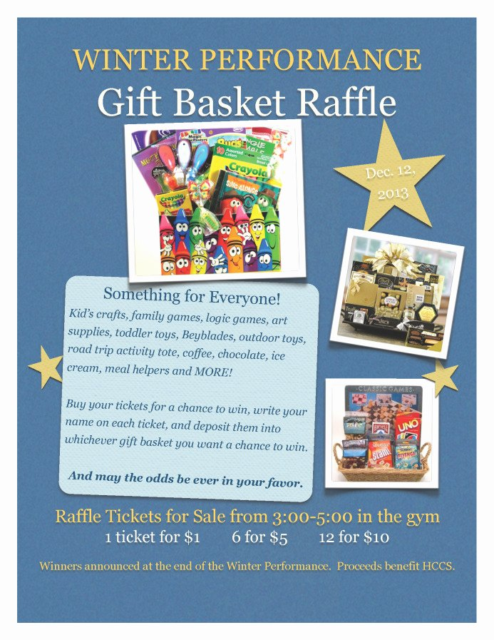winter performance t basket raffle
