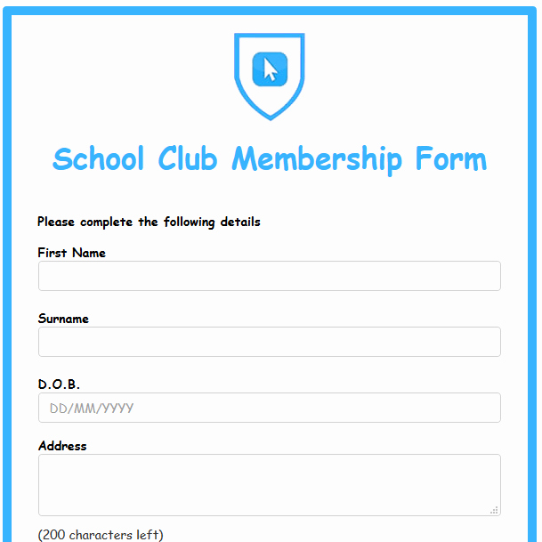 Booster Club Membership form Template Elegant formwize Examples
