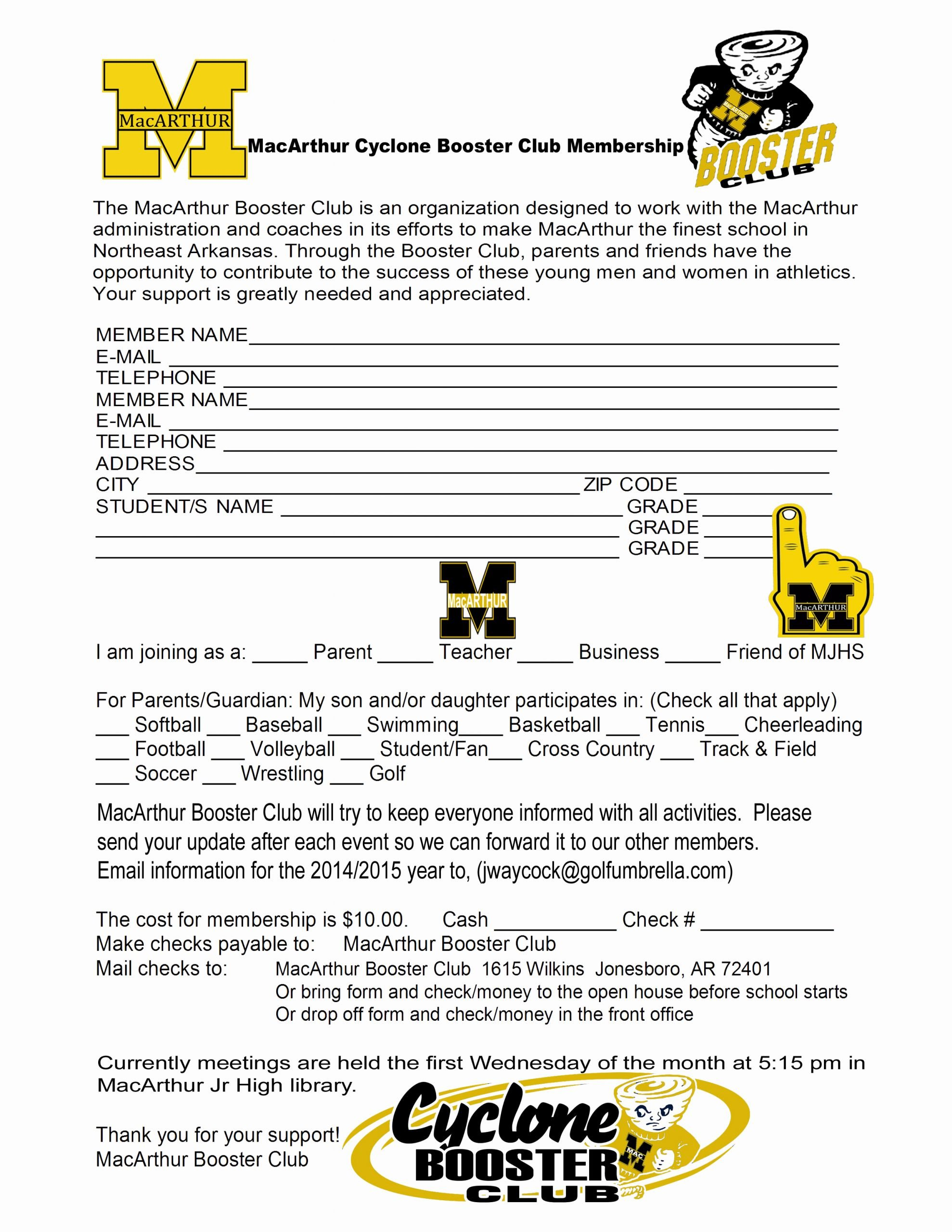 Booster Club Membership form Template Fresh Important forms Macarthur Football 2015