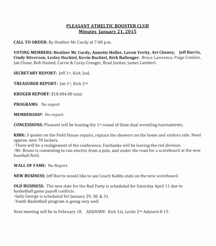 Booster Club Membership form Template Fresh Meeting Minutes attendance Pleasant athletic Booster Club